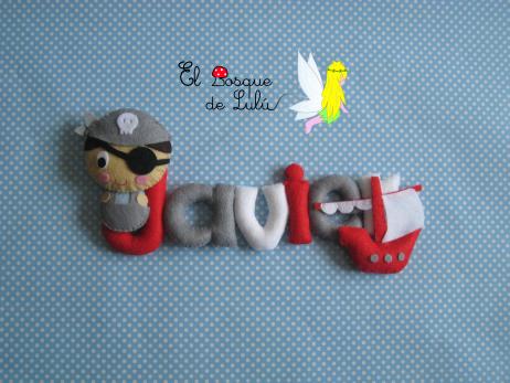 nombre-en-fieltro-decoración-infantil-pirata-barco-regalo-nacimiento-letrero-en-fieltro-name-banner