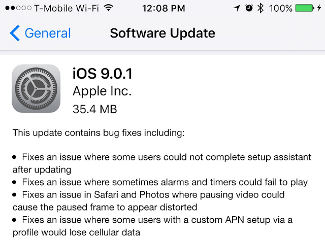 iOS 9.0.1 Features List