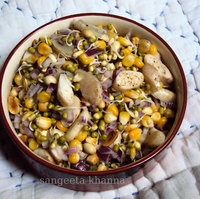 salad for lunch : water chestnut, corn, peanuts and mung sprouts...