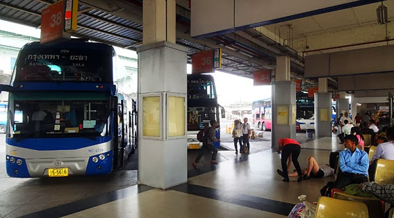 Thailand road travel at the south Bangkok bus terminal