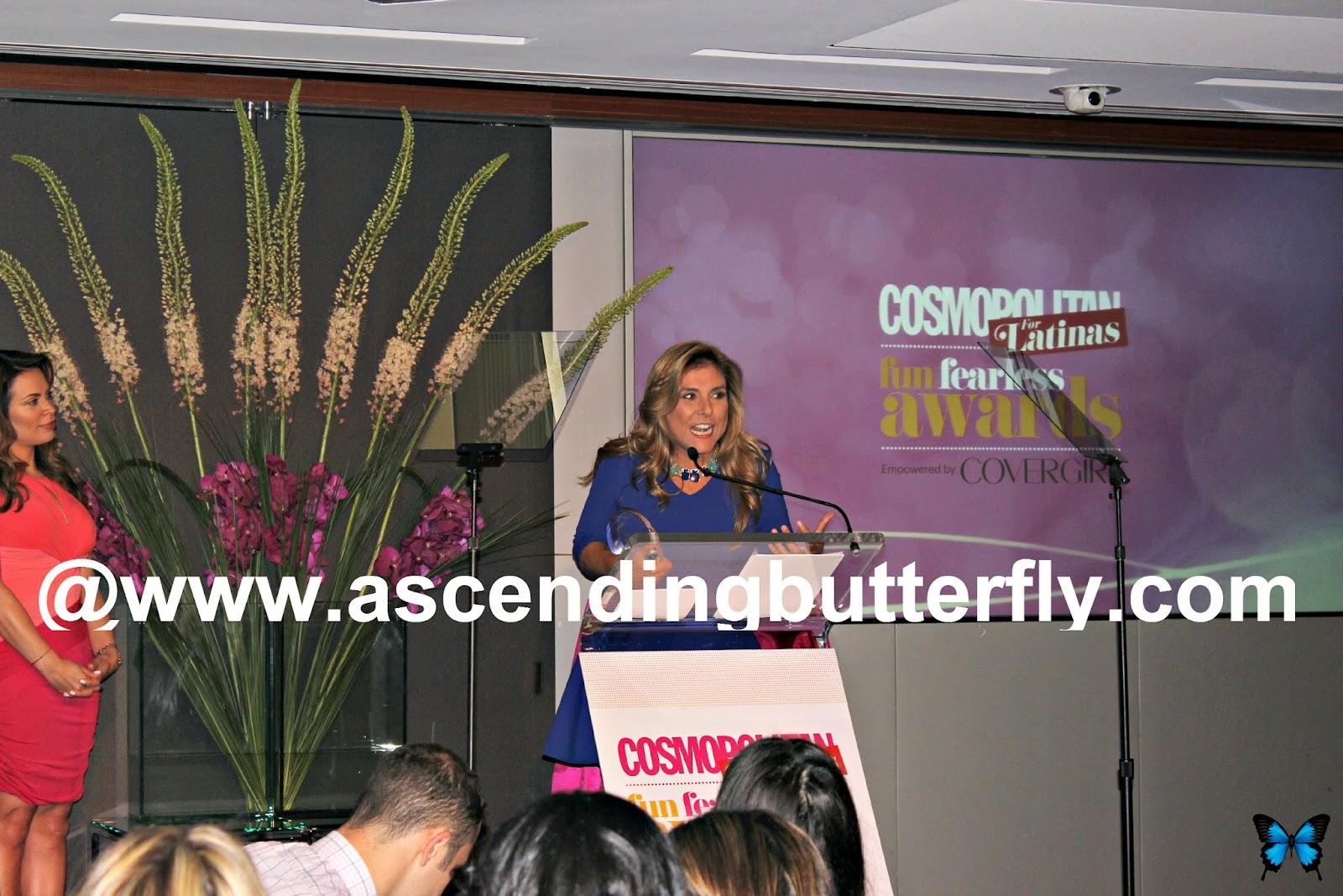 Chef Lorena Garcia accepts a Cosmopolitan for Latinas Fun Fearless Award in New York City