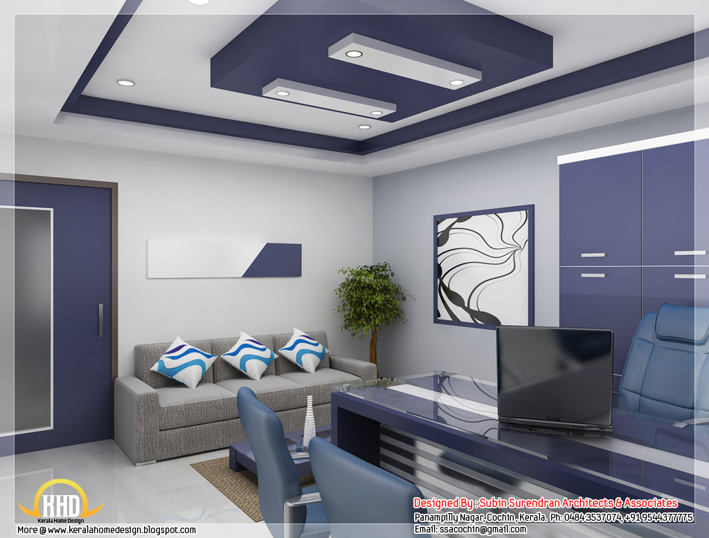 Beautiful 3d interior office designs kerala home design for Interior designer office