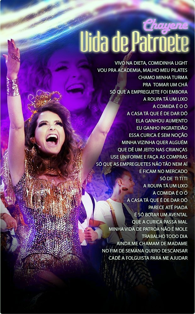 "CHAYENE - LETRA DA MUSICA ""VIDA DE PATROETE"" - NOVELA CHEIAS DE CHARME"