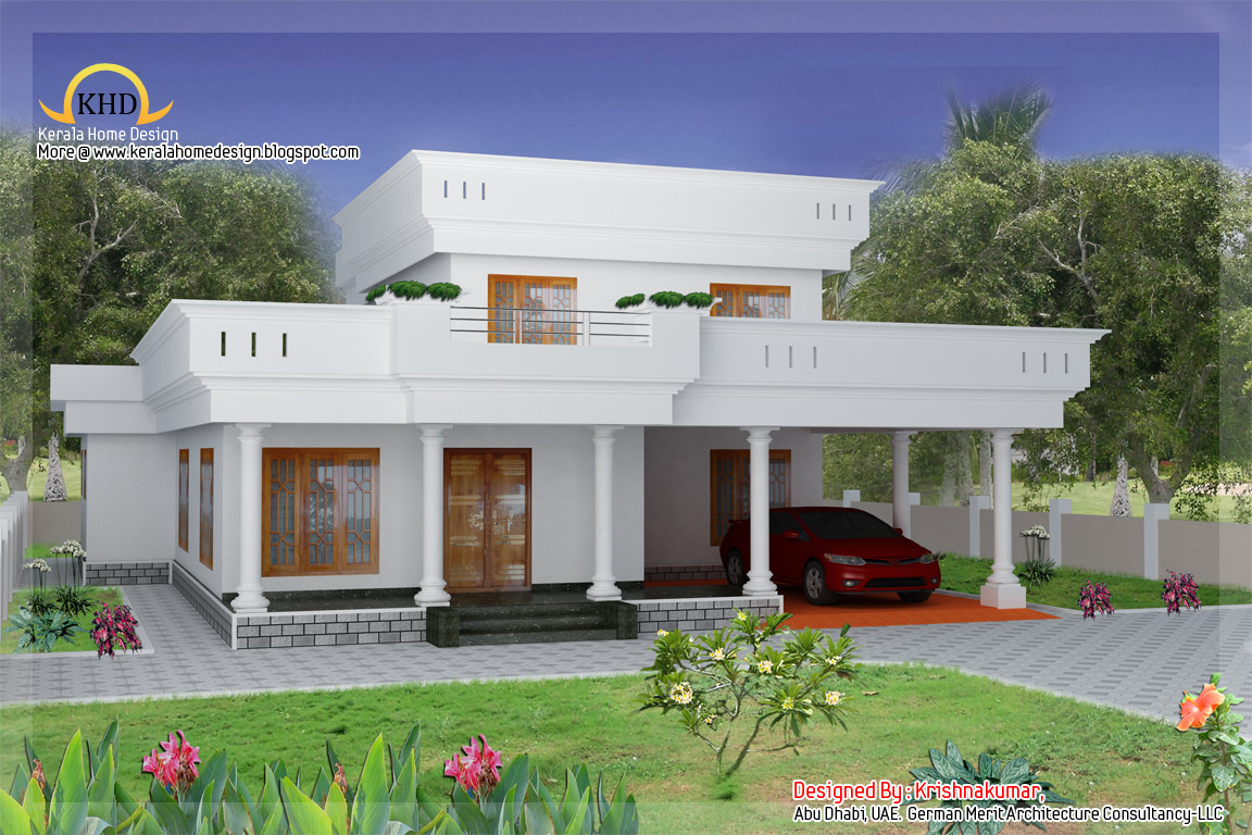 Duplex home elevation 2300 sq ft kerala home design for Duplex house models