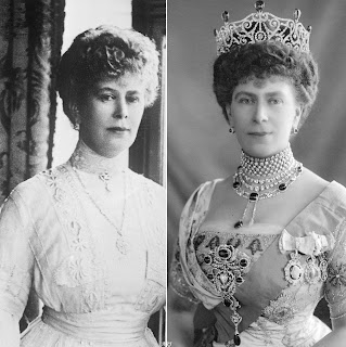 Queen Mary wearing the Cullinan VI and VIII brooch on her collar (left) and as part of the Delhi Durbar stomacher (right)