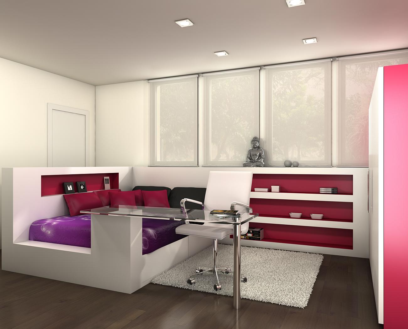 Atrezzo 3d habitaciones juveniles for Habitaciones modulares juveniles