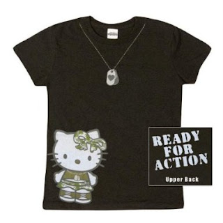 "Hello Kitty Black army ""Ready For Action"" T-Shirt"