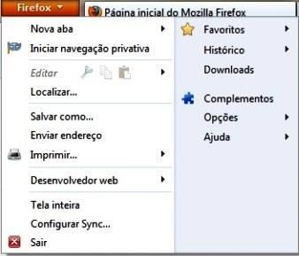 Menus do Firefox