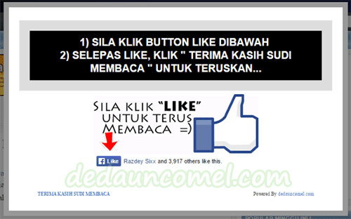 cara, tutorial, pop up, like, facebook