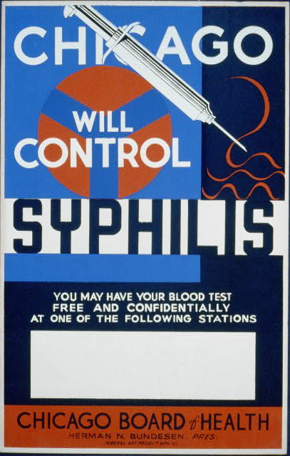 wpa, federal art project, public health, public safety, public service announcement, vintage, vintage posters, graphic design, free download, retro prints, classic posters, Chicago Will Control Syphilis, Chicago Board of Health - Vintage Public Health Poser
