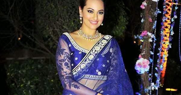 Sonakshi Sinha In Blue Lehenga Saree | Sarees Villa Sonakshi Sinha In Blue Saree