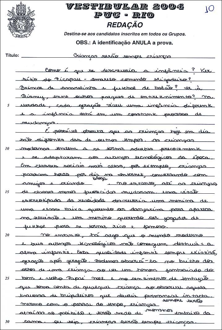 Redação dissertação exemplo