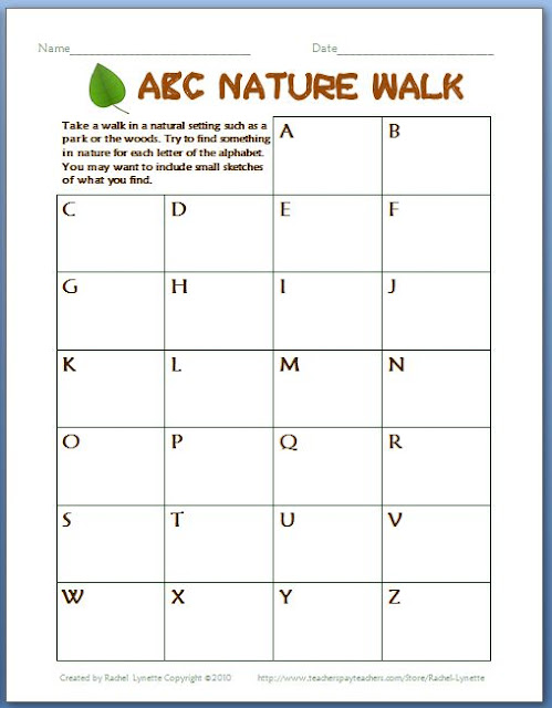 Over 50 Free Nature Walk Printables