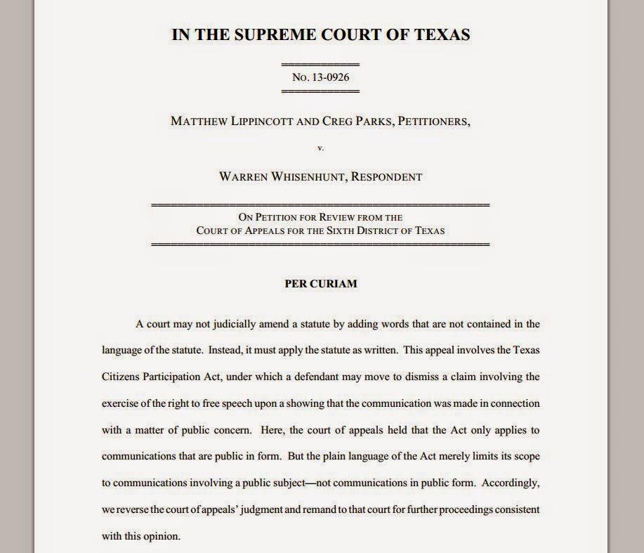 Lippincott v Whisenhunt, No. 13-0926 (Tex. April 24, 2015)