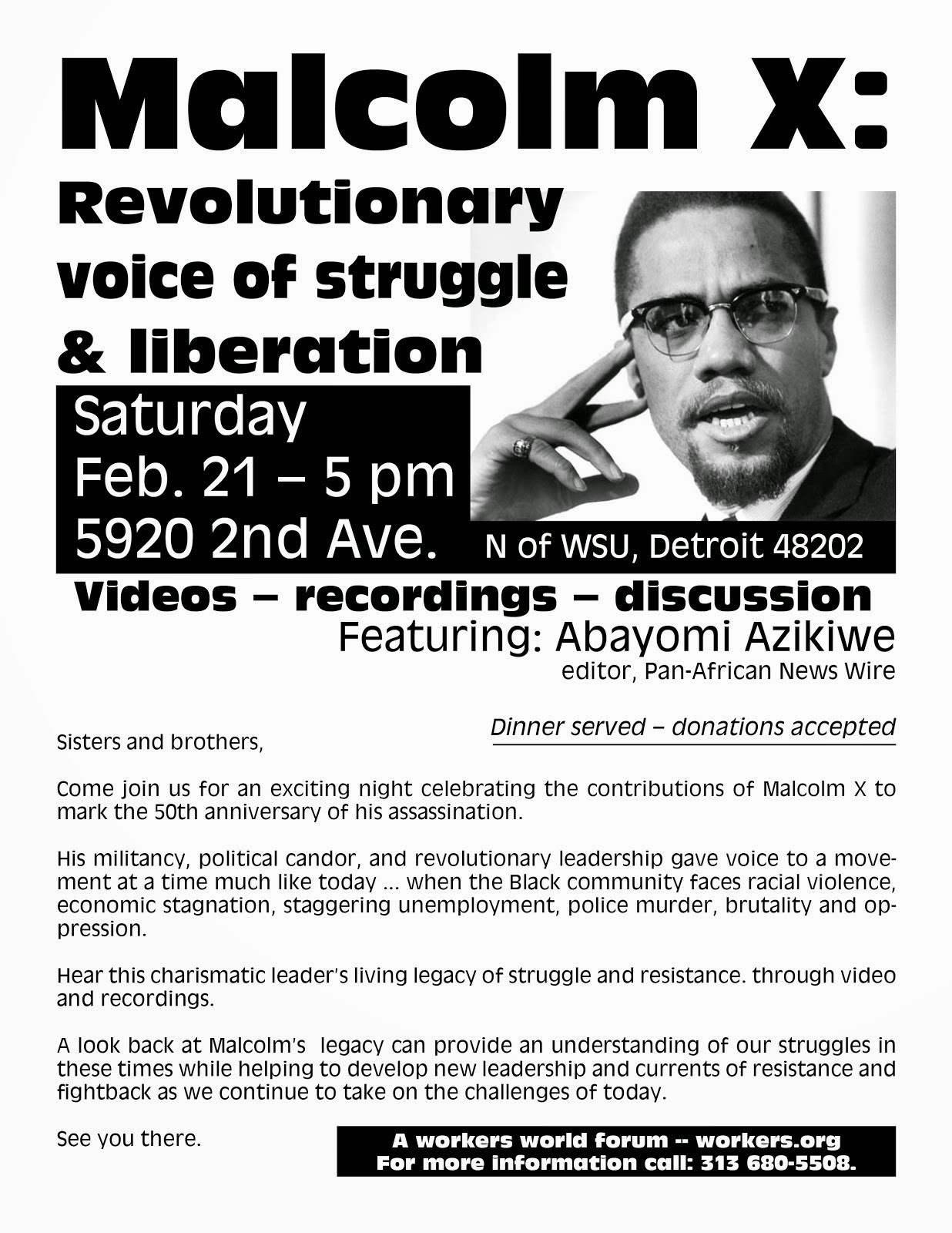 Abayomi Azikiwe Speaks on the Revolutionary Legacy of Malcolm X on Sat. Feb. 21, 2015, 5:00-8:00pm