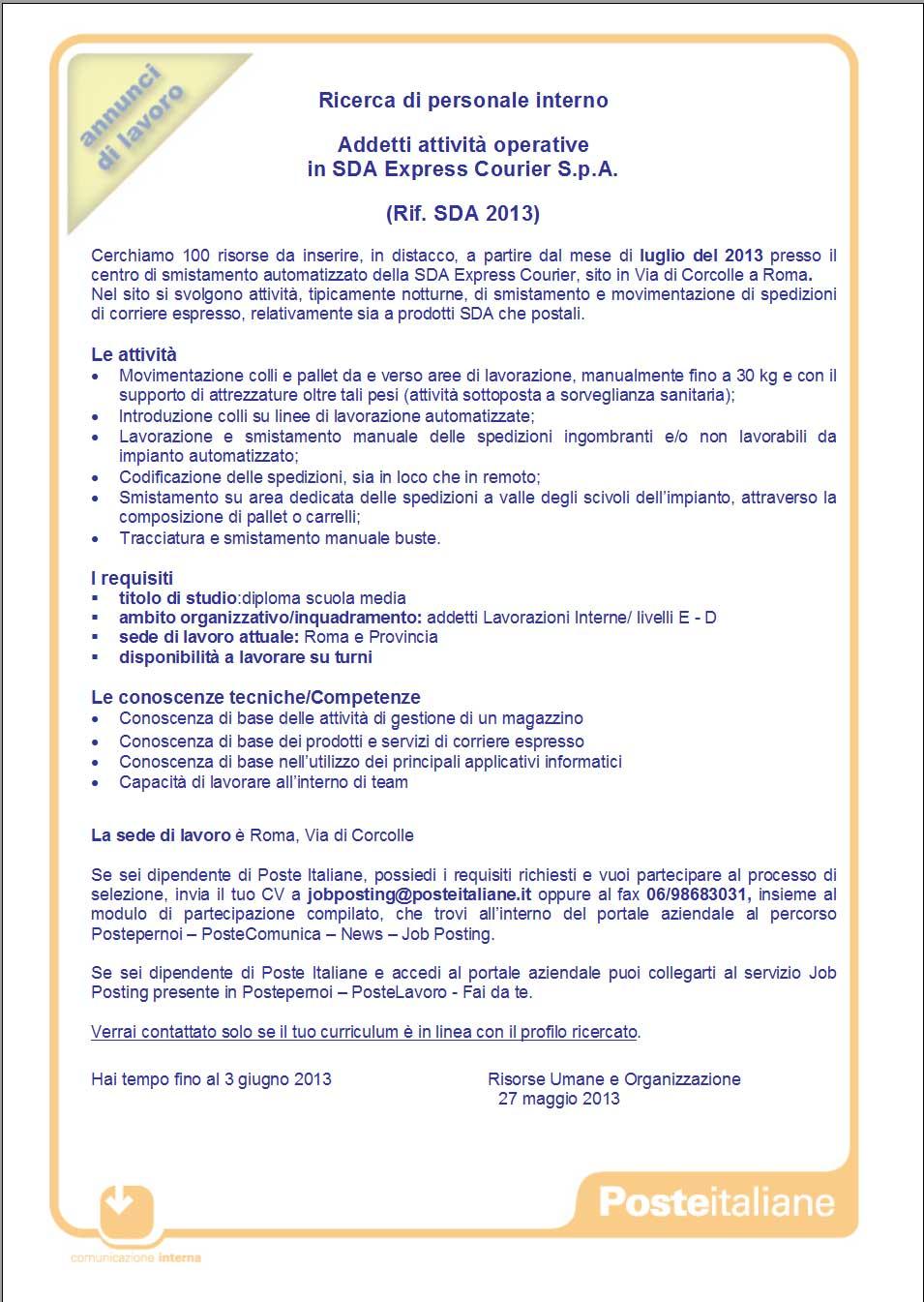 Recapito di Roma: Job Posting: Ricerca di personale interno