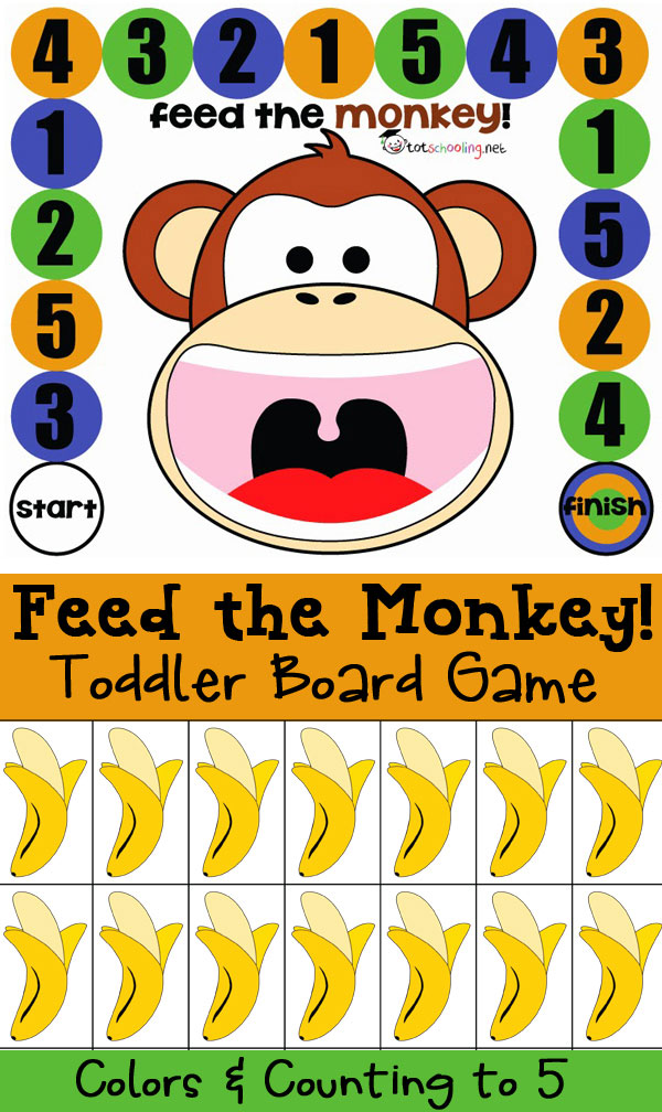 Feed The Monkey Counting Board Game For Toddlers Preschool