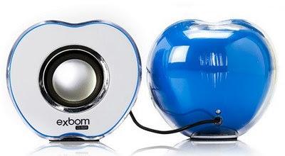 Caixa de som com design de maçã para notebook e celular