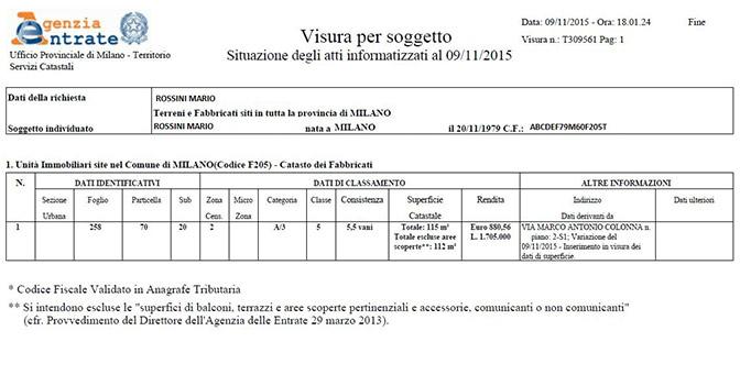 Giuseppe iacono for Visura catasto