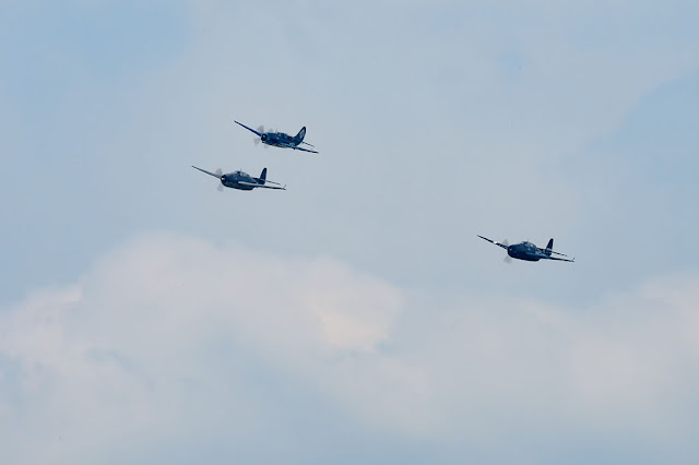 Two Grumman TBF Avengers and a Curtiss SB2C Helldiver