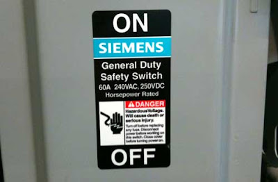Siemens DANGER panel in Helvetica
