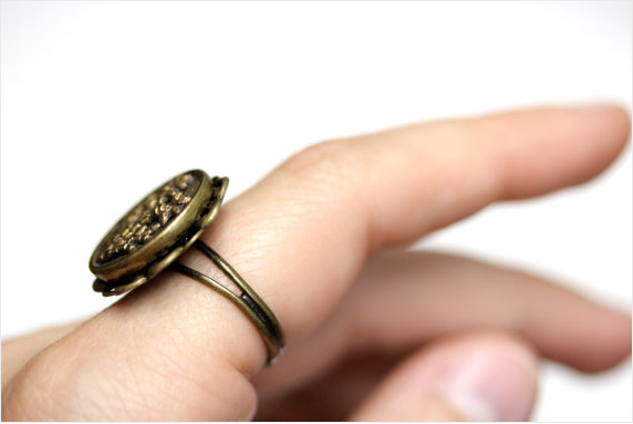 Filigree Ring made from an antique button by ChatterBlossom #ring #antique