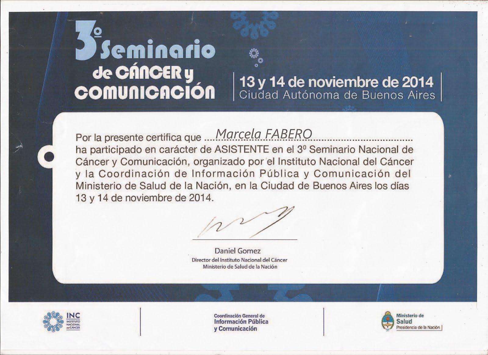 3° SEMINARIO DE CANCER Y COMUNICACION