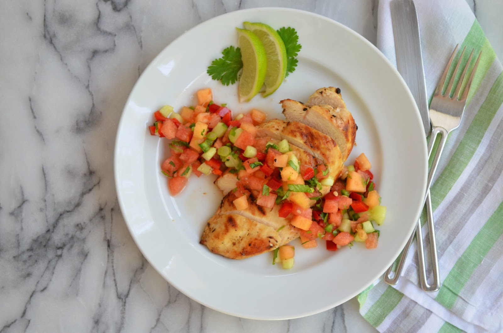 Citrus Chicken with Melon Salsa - smell of Rosemary.