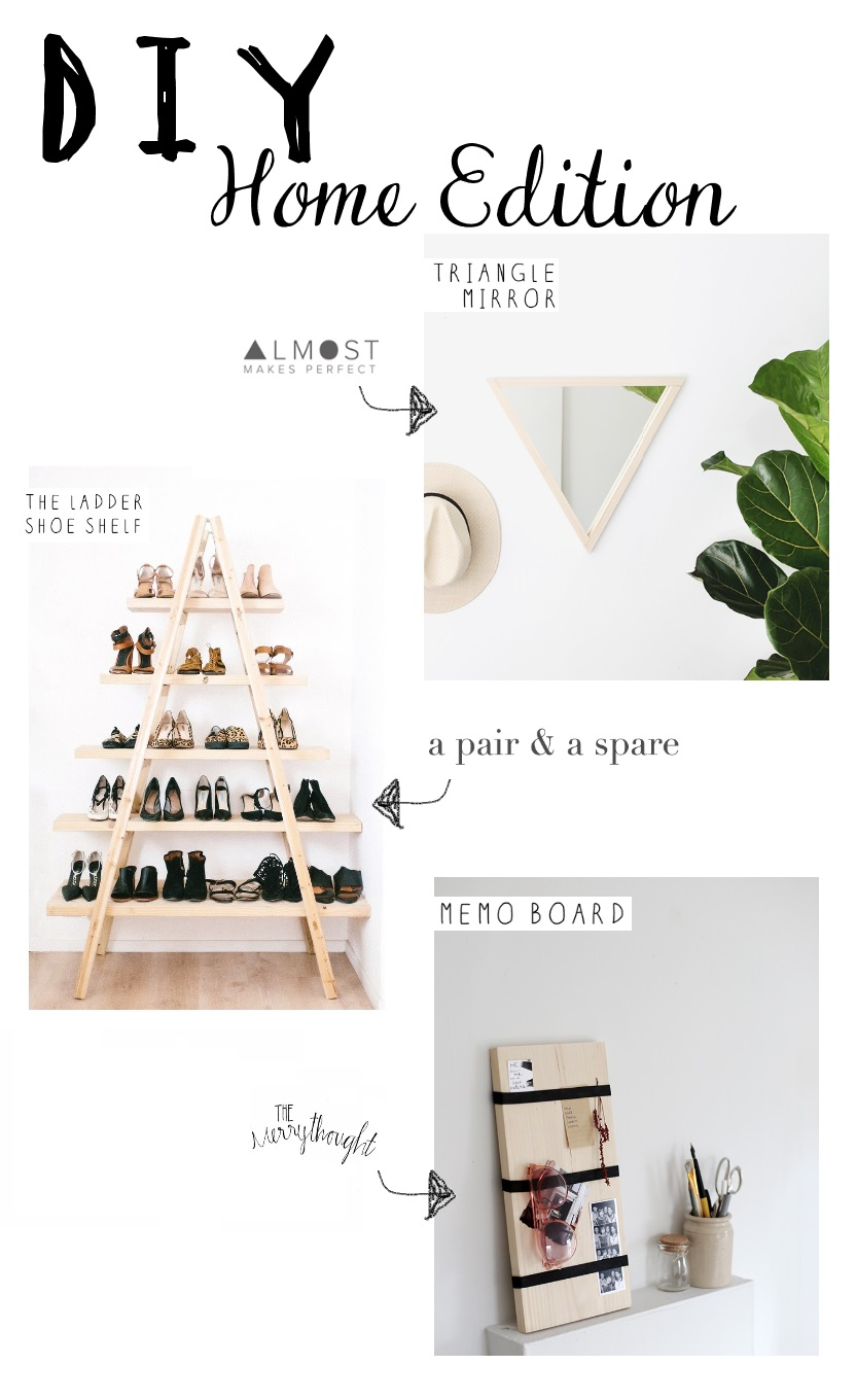 awesome do it yourself project to try. DIY ladder shelf, Triangle mirror and Memo Board
