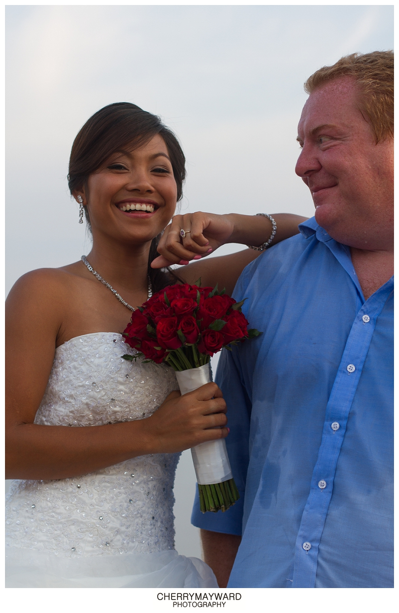 Fun bride and groom portraits, Lamai Beach wedding, Koh Samui