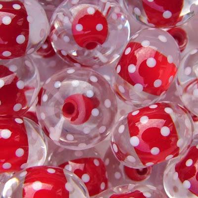 Encased lampwork beads by Laura Sparling