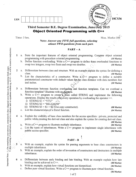 VTU Previous Year Question Papers