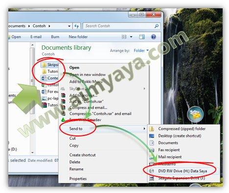 Gambar: Copy/paste file ke CD/DVD atau menggunakan Fasilitas Send To
