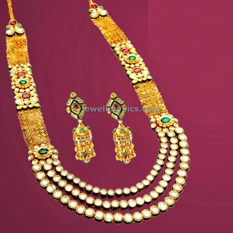 three layer kundan long chain raani haar
