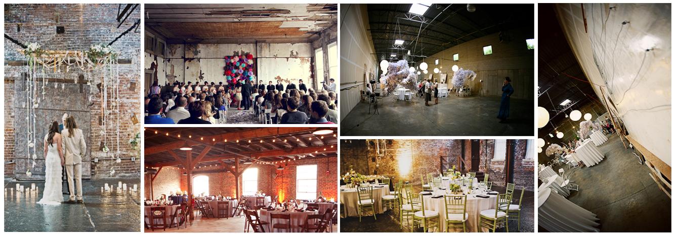 ready for a wedding reception at Salt Lake Warehouse tables set up at