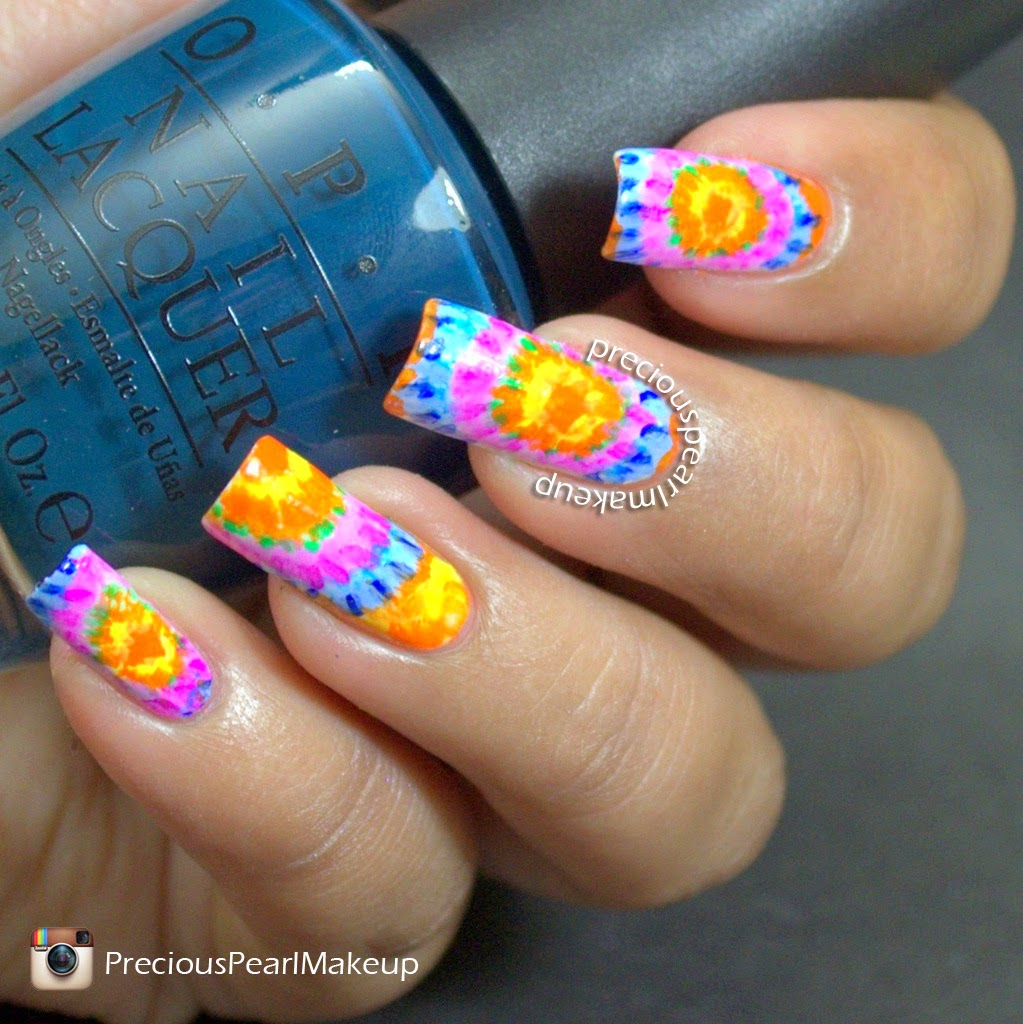preciouspearlmakeup: Tie and Dye Nail Art and Tutorial