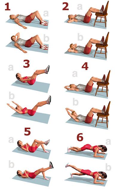 tabla de ejercicios para fortalecer abdominales