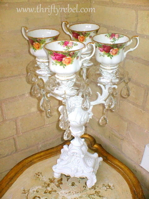 repurposed candelabra with teacups