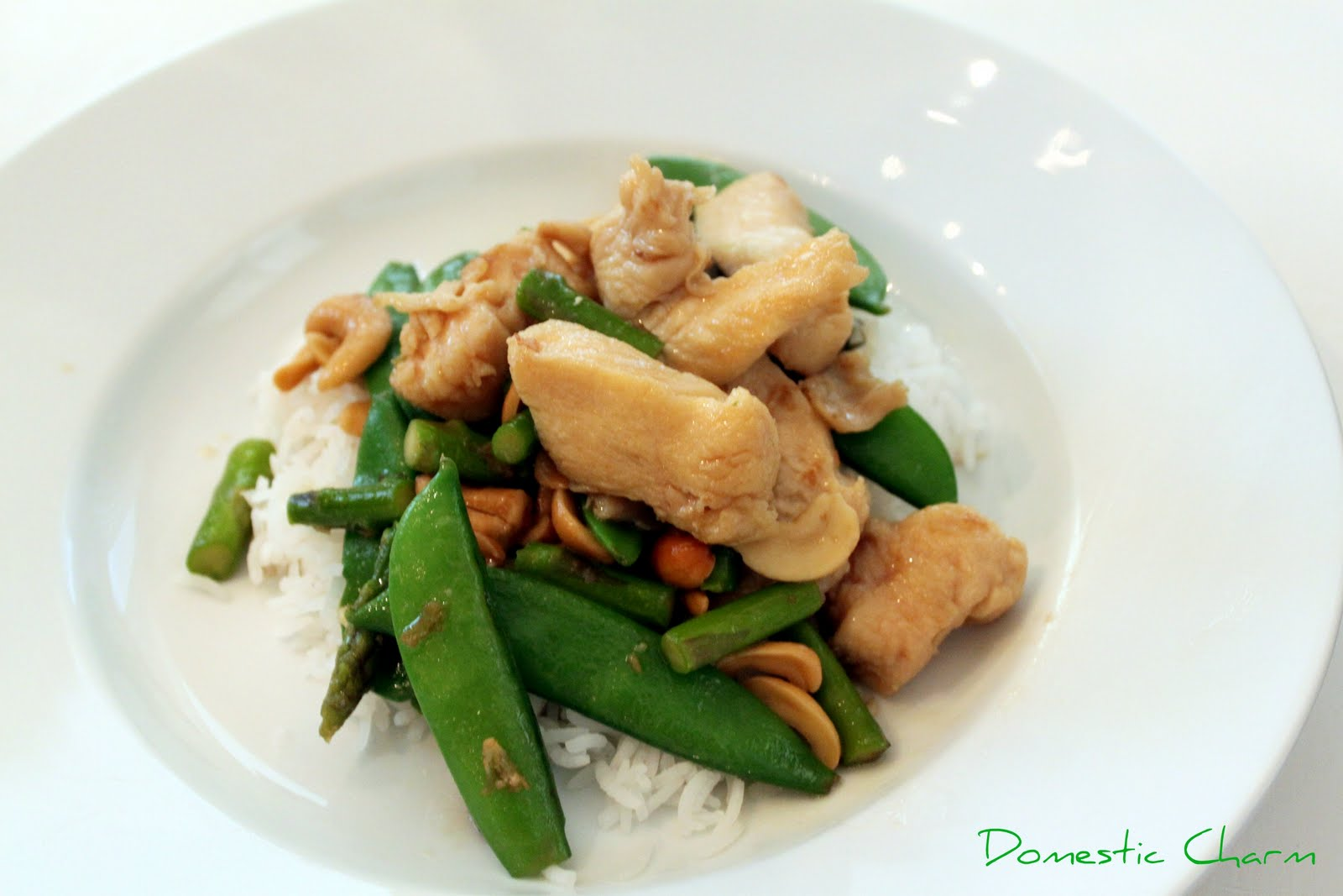 Cashew Chicken with Asparagus and Snap Peas