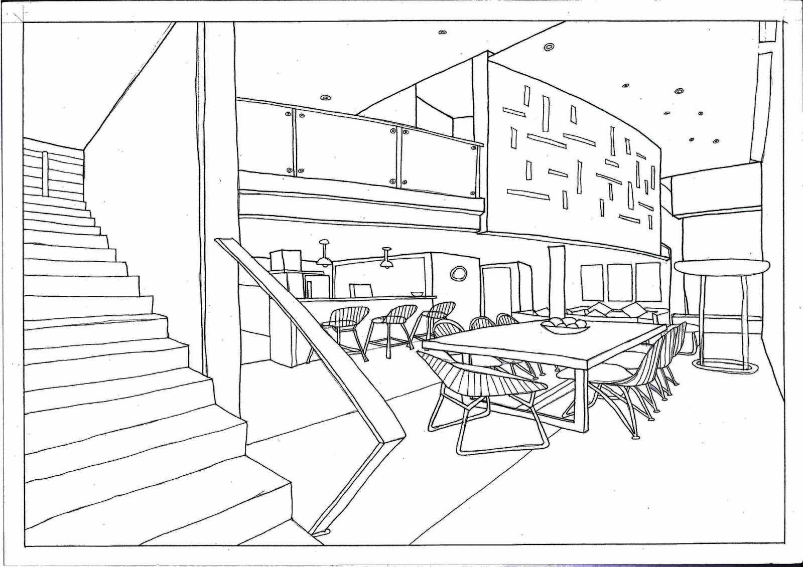 Dining room perspective drawing - How To Draw A Room Using One Point Perspective 11 Steps