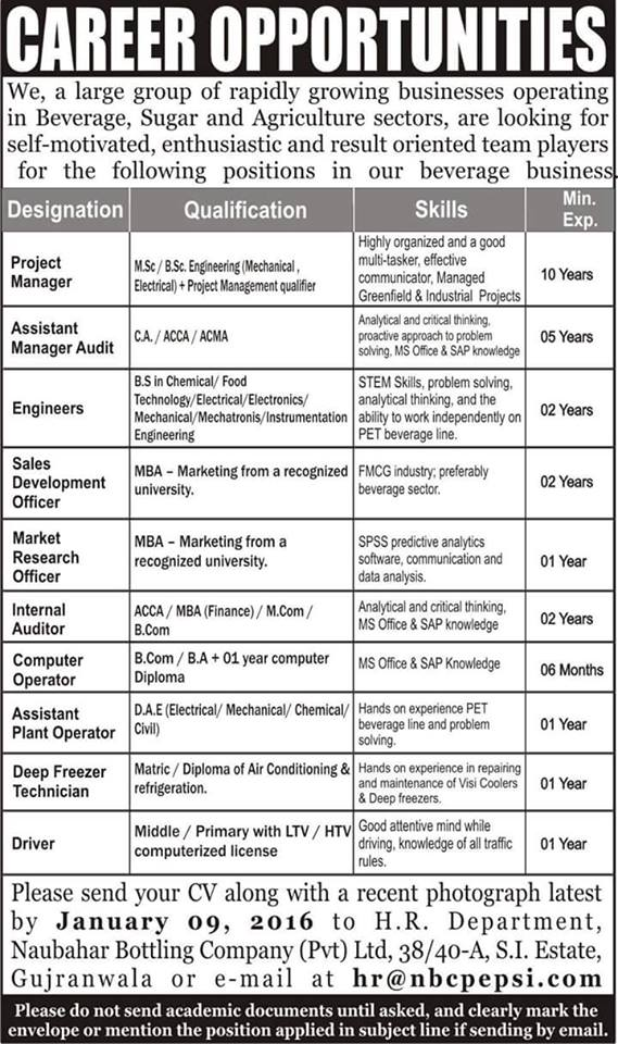 MBA, Engineers & Finance Jobs in A Private Company Gujranwala