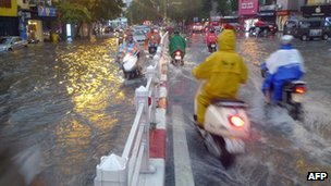 Parts of the capital, Hanoi, remained flooded