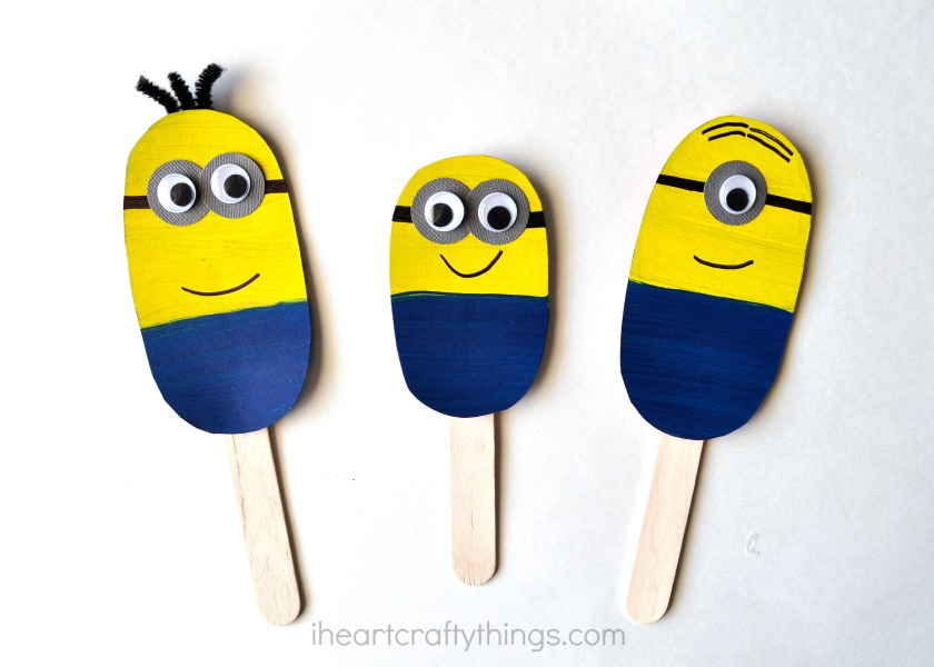 Diy Minion Stick Puppets on Pipe Cleaner Crafts