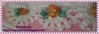 Barrado de crochê com flor e gráfico para pano de prato