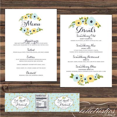 romantic hand drawn floral printable diy dinner drink menu design