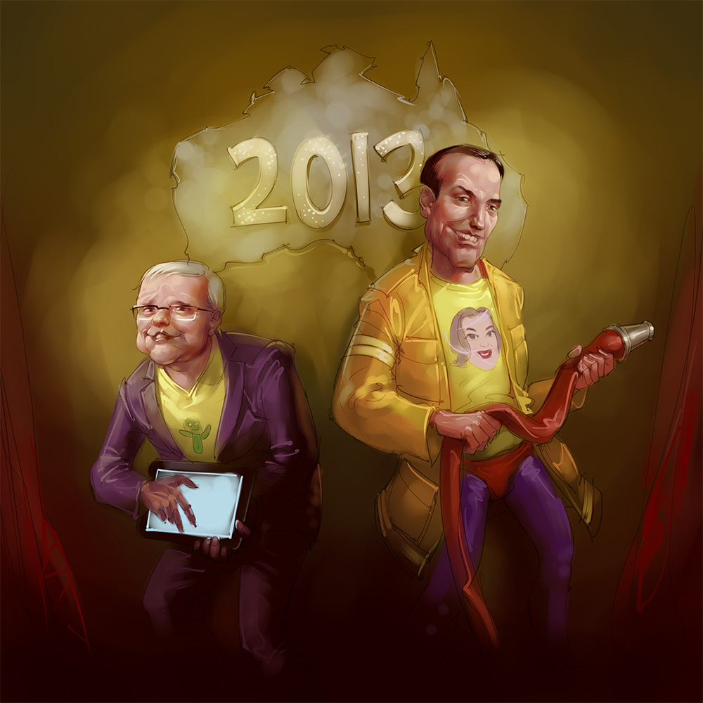 Kevin Rudd and Tonny Abbott caricature