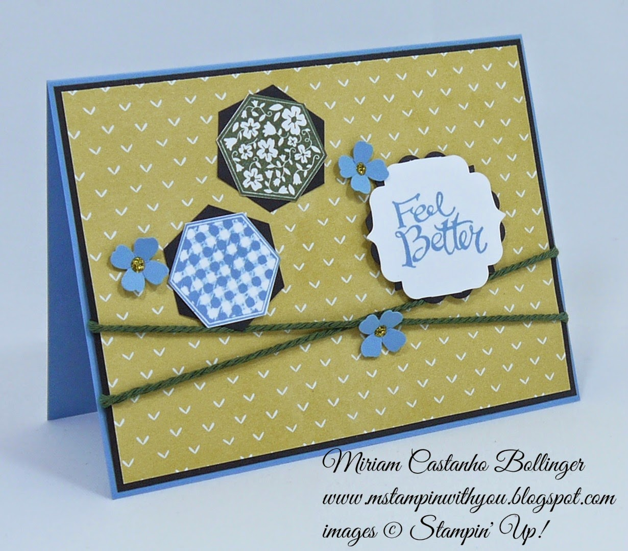 Miriam Castanho Bollinger, #mstampinwithyou, stampin up, demonstrator, dsc127, lullaby dsp, six-sided sampler stamp set, sassy salutations, hexagon punch, itty bitty accents punch, label bracket punch, get well, su
