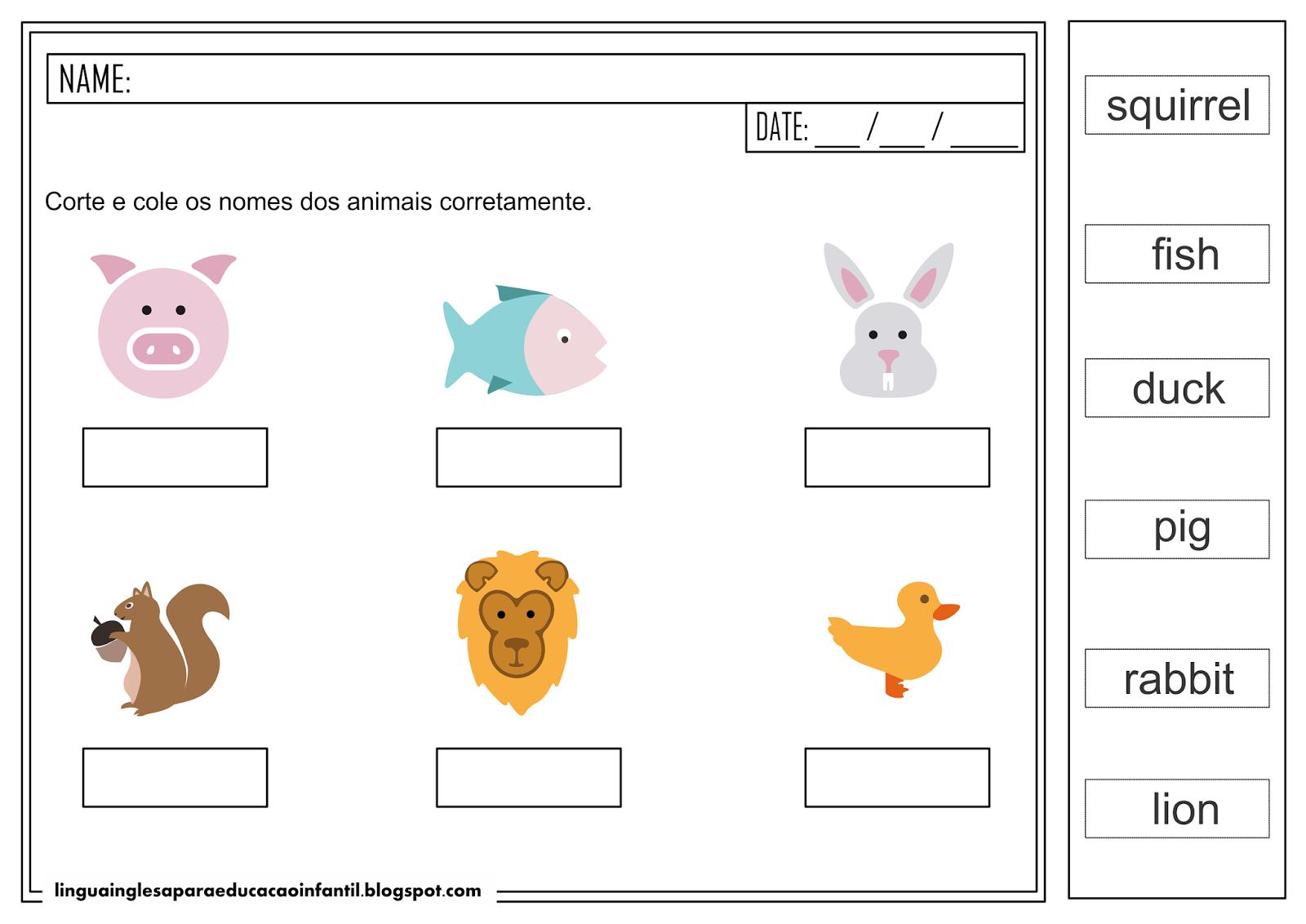 Atividade de Inglês - Animais para educação infantil