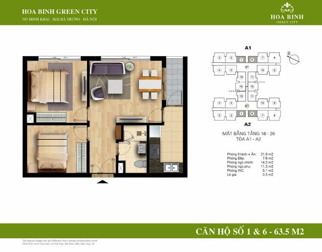 chung cư Hòa Bình Green City Căn hộ số 1 , 6 dt 63.5m2