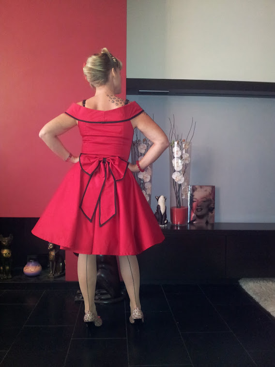 red swingskirt with bow waistband